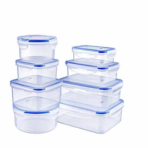 lavabile in lavastoviglie Set di 4 contenitori ermetici per alimenti include 5 misurini mantengono il cibo fresco e asciutto grandi contenitori da cucina 1,9 l in plastica senza BPA